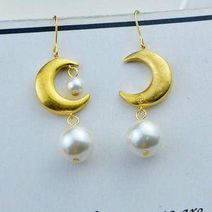 Tory Burch Celestial Moon Pearl Logo Earrings